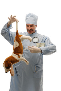Roger Biduk - Vaccinations vet holding dog by tail